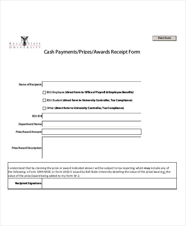 Sample Payment Receipt Forms