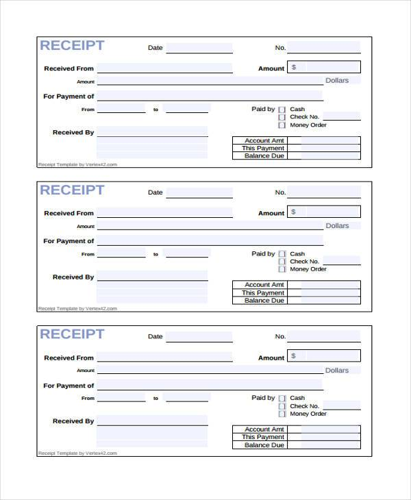 Receipt Form In Pdf