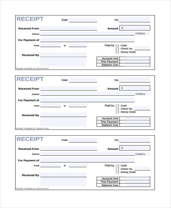 cash receipt form sample