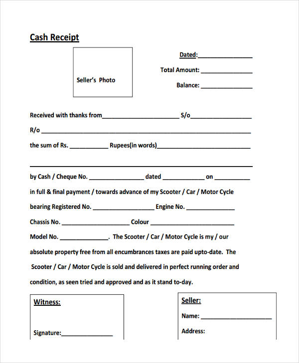 42 Free Receipt Forms – Cash Sale Receipt