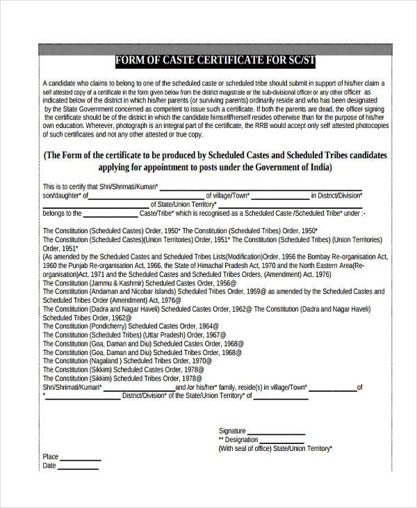 caste certificate form1