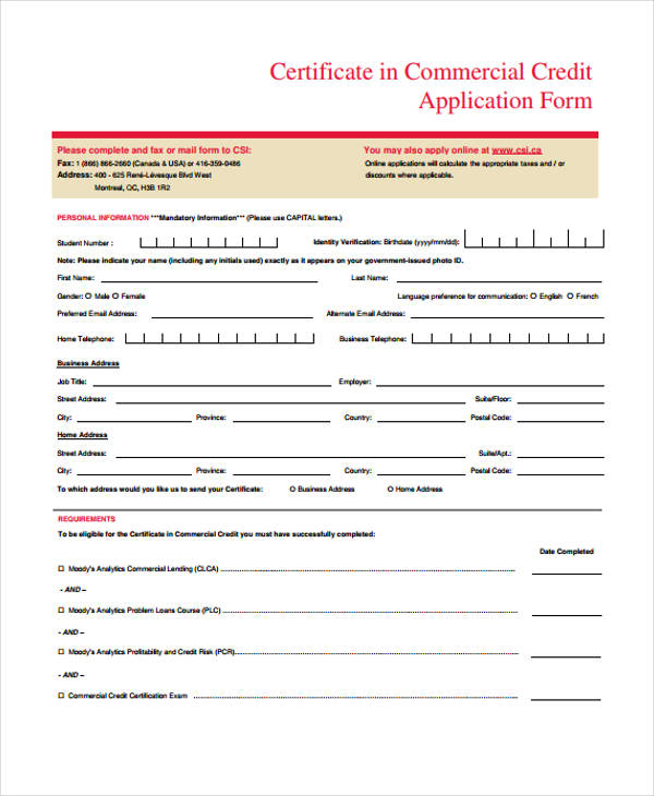 certificate commercial credit application form