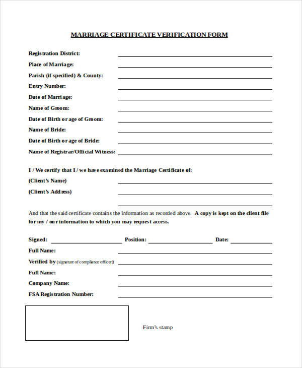 certificate verification form of marriage