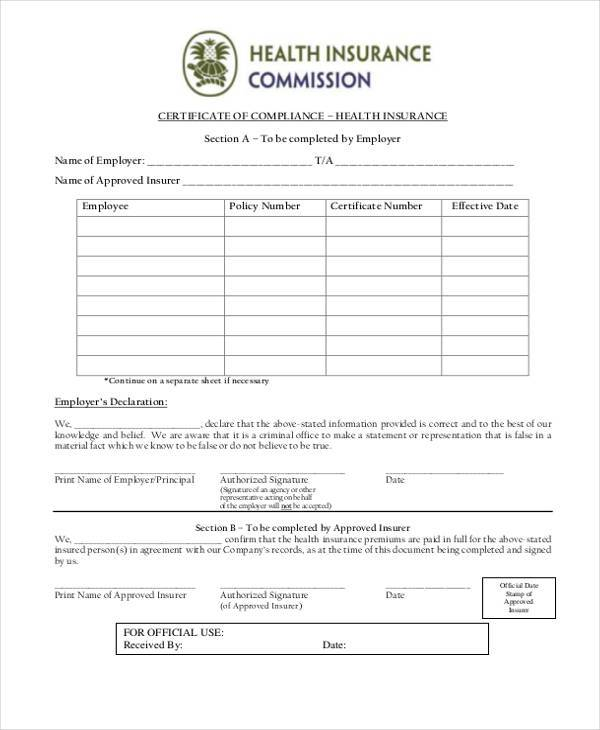 Certificate form templates certificate of health insurance form yelopaper