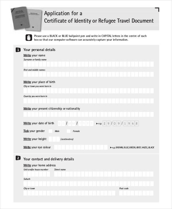 certificate of identity application form1