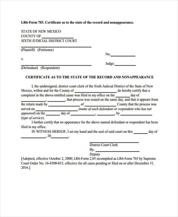 certificate of non appearance form