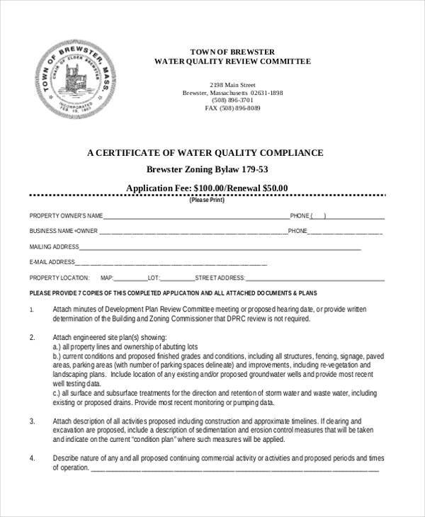 certificate of quality compliance form