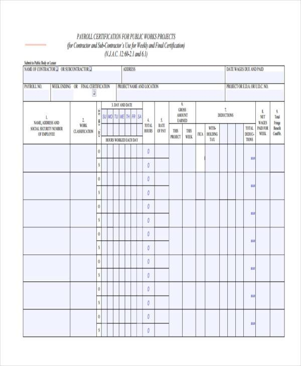 Certified Payroll Form Wh Federal Payroll Form Excel Format Wh And