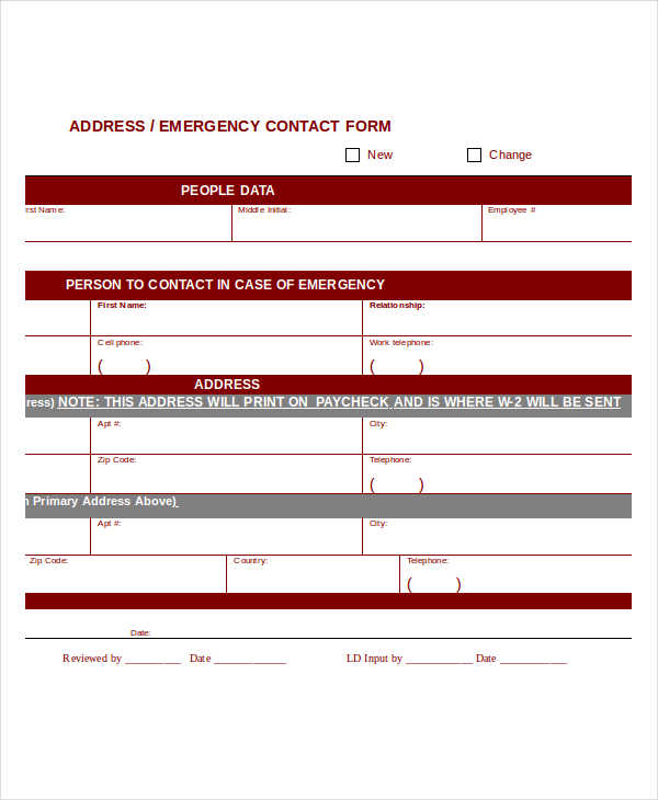 change address emergency contact form