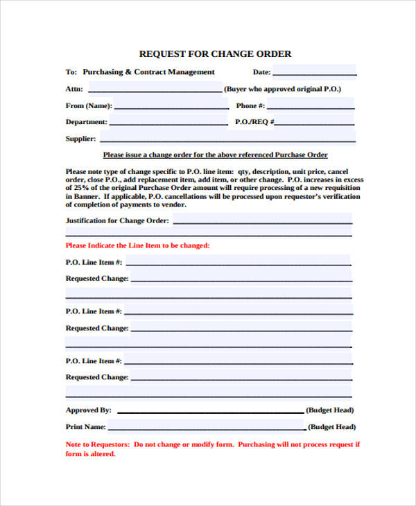change order request for