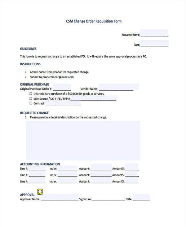 change order requisition form