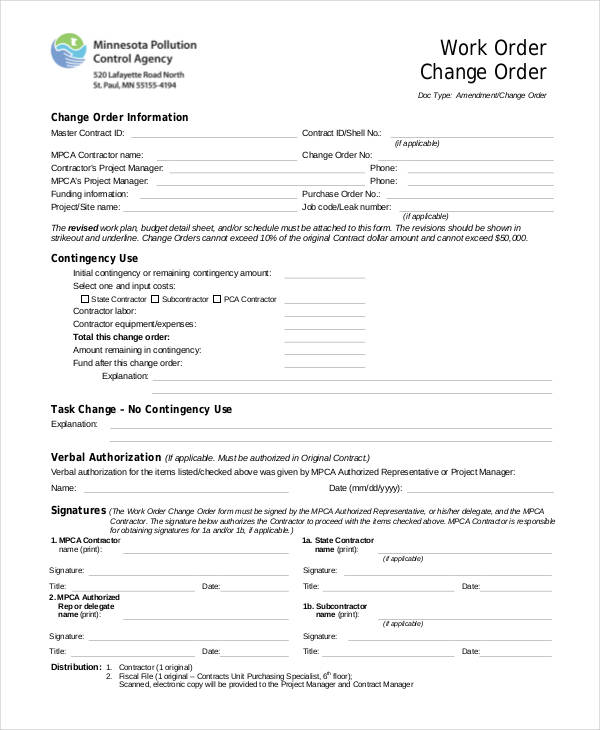 Lovely Change Work Order Form In PDF