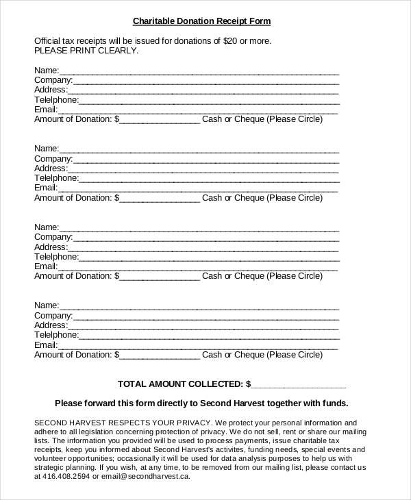 charitable donation receipt form3