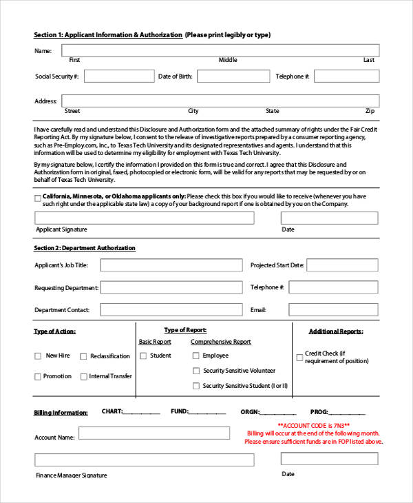 Check Authorization Form Sample  Free Sample Example Format