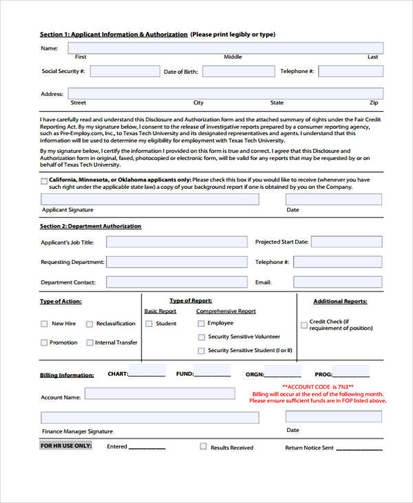 Sample Check Authorization Form   Free Documents In Word Pdf