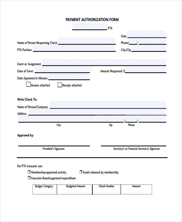 check payment authorization form