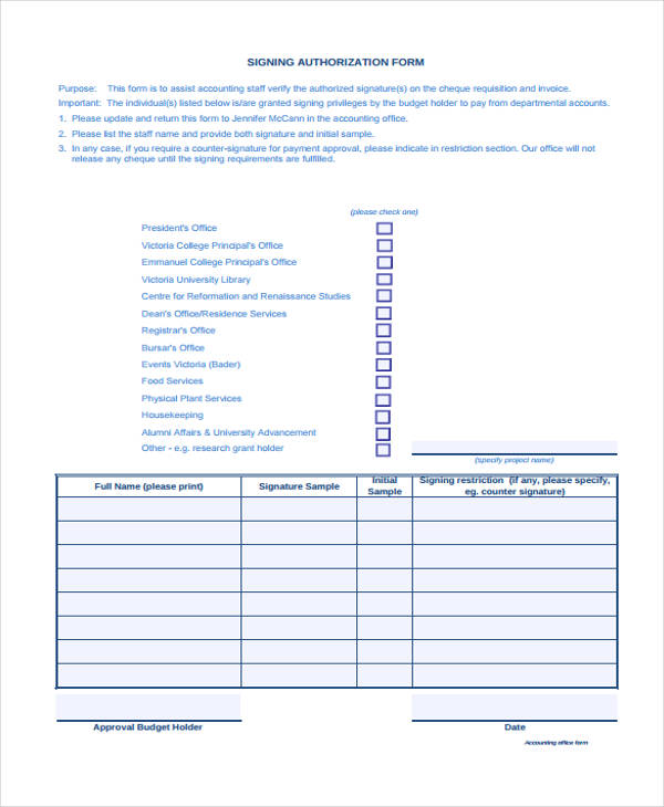 check signing authorization form
