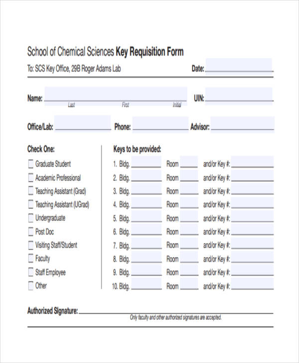 chemical sciences key requisition form
