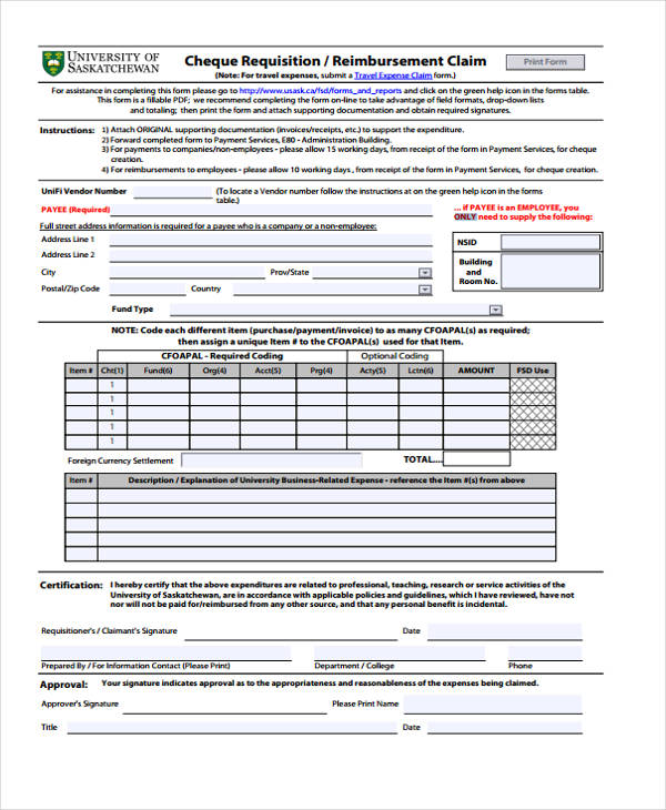 cheque requisition claim form