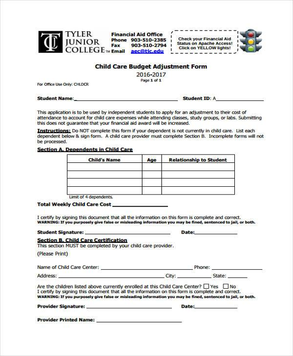 child care budget adjustment form