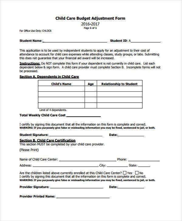child care budget adjustment form3