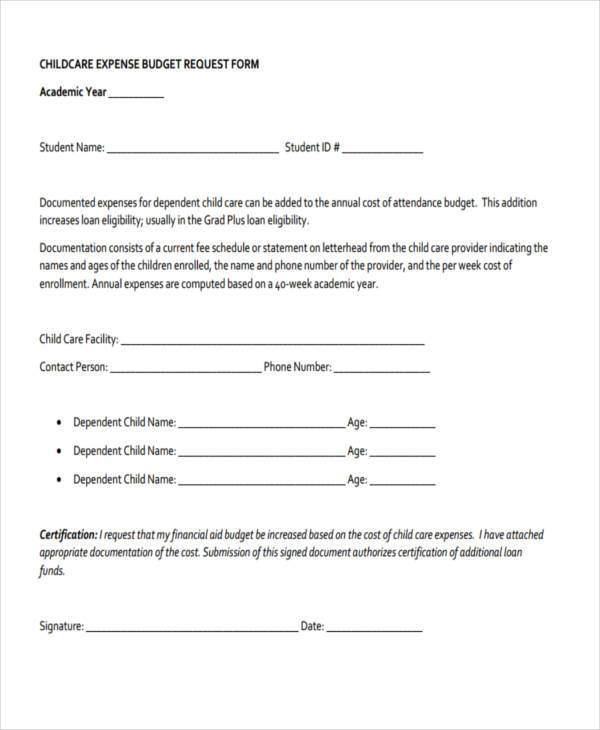 child care expense budget request form