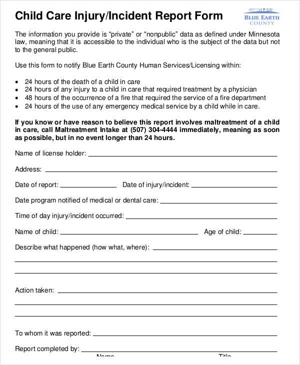 child care injury incident report form