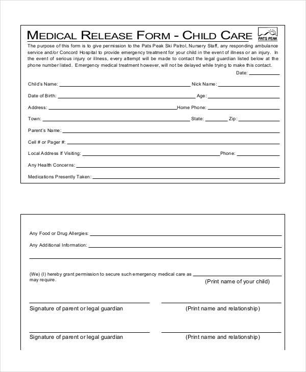 child care medical release form1