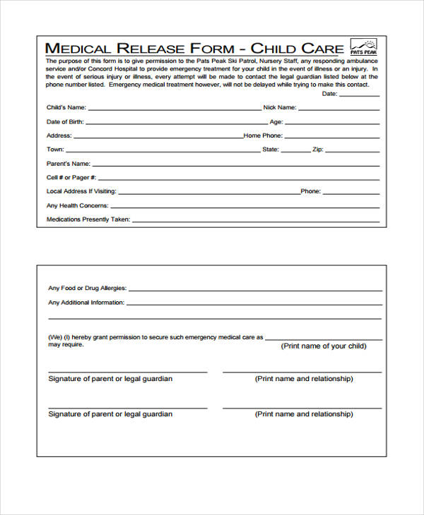 child care medical release form2