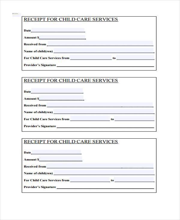 child care service receipt form