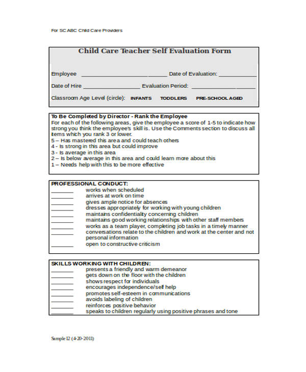 21+ Sample Self Evaluation Forms