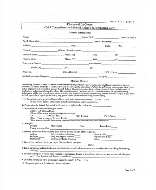child comprehensive medical release form