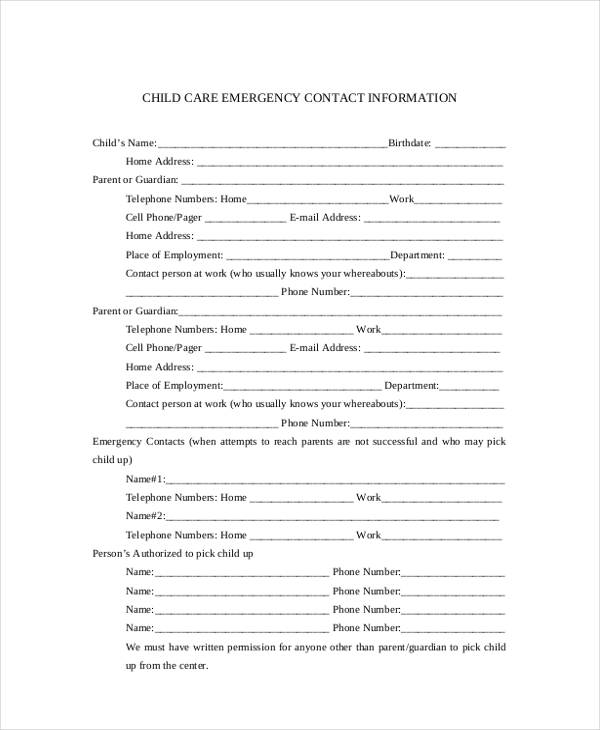 child emergency contact information form1