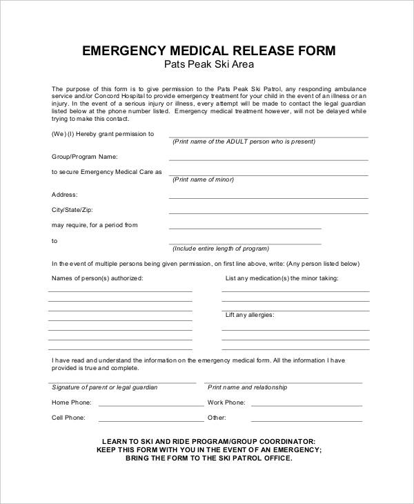 Medical release forms child emergency medical release thecheapjerseys Images