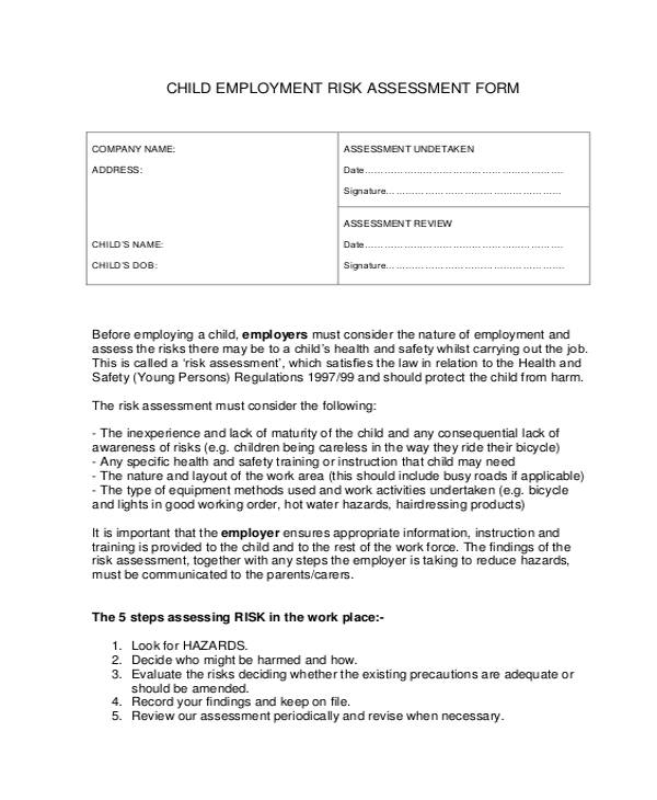 29 Free Risk Assessment Forms