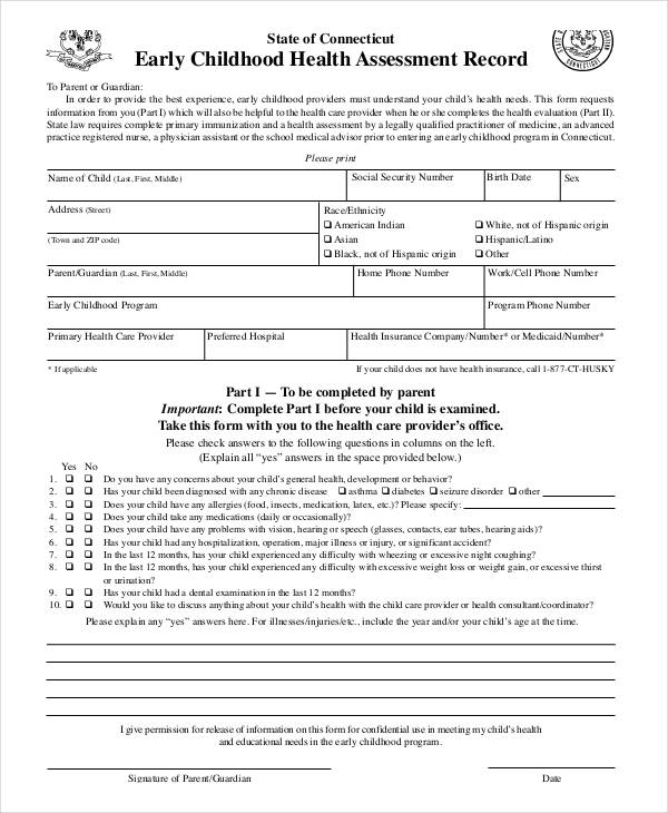 child health assessment record form