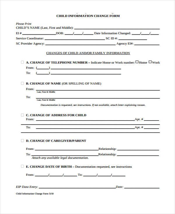 child information change form