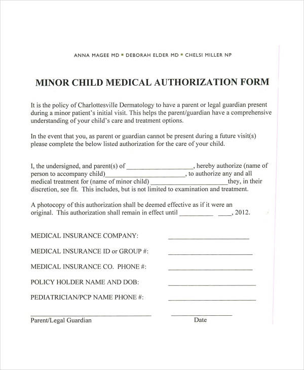 medication consent form template - 13 medical authorization form samples free samples
