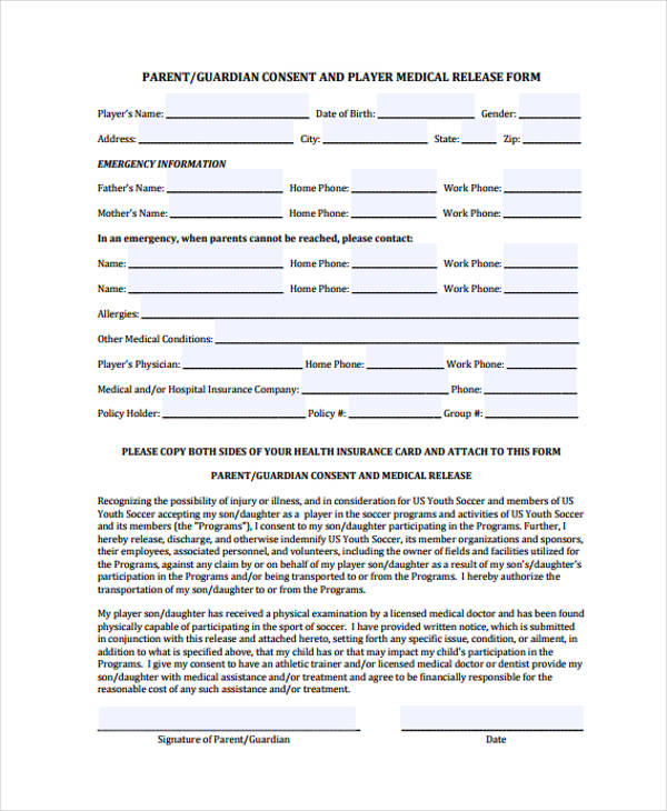 child medical release form1