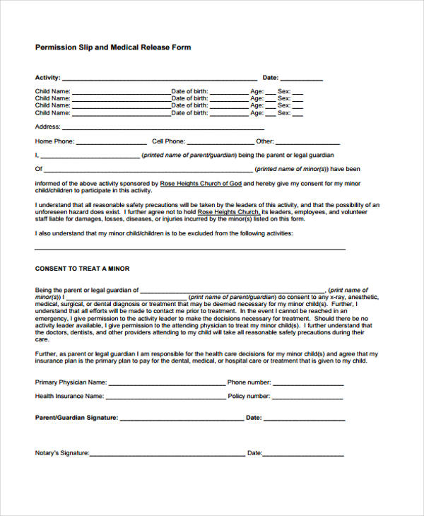 child medical release form2