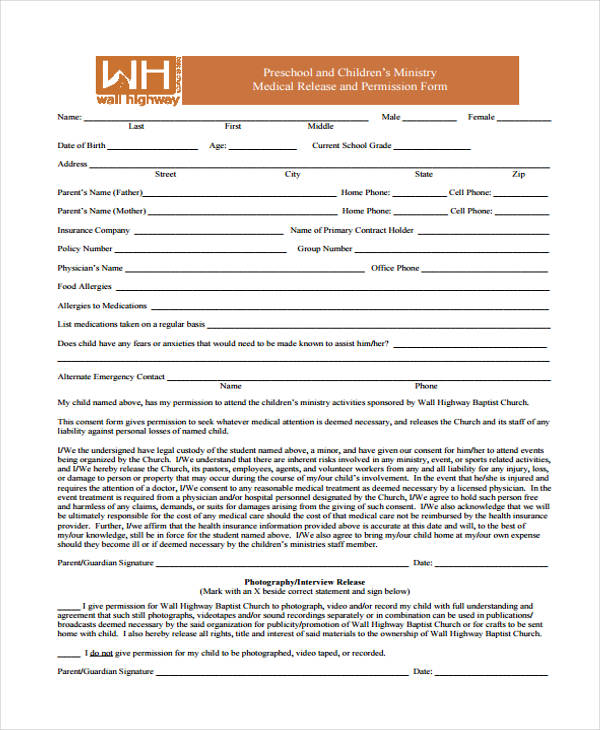 child ministry medical release form