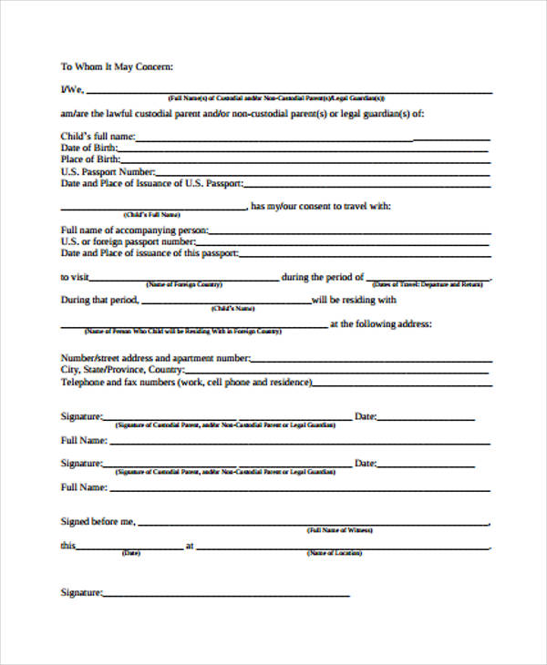 Free Travel Form