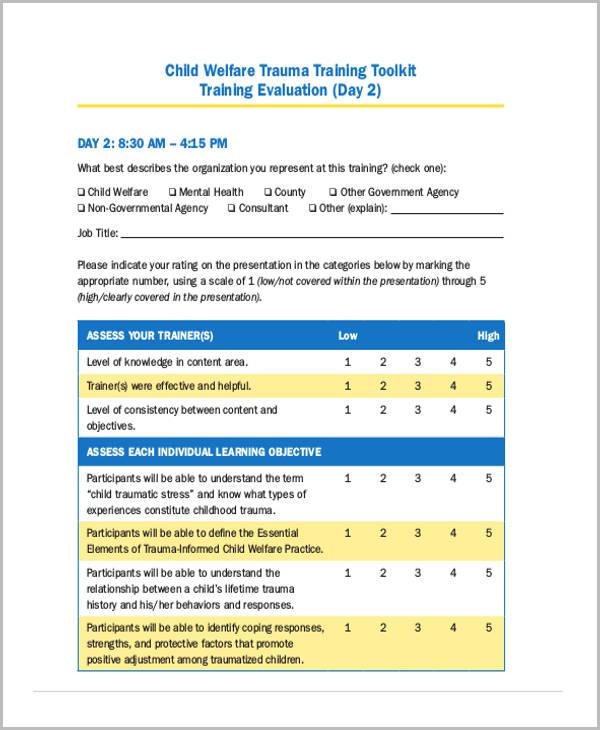 child welfare training evaluation form