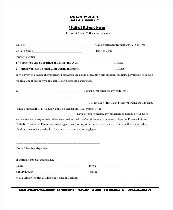 Childcare Emergency Medical Release Form