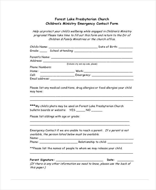 childrens ministry emergency contact form