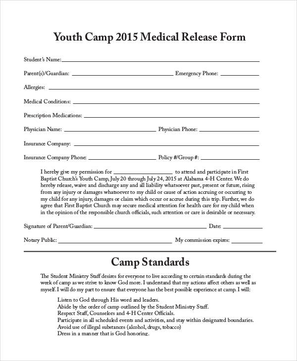 church camp medical release form