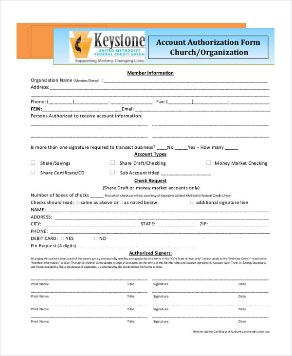 church check authorization form format