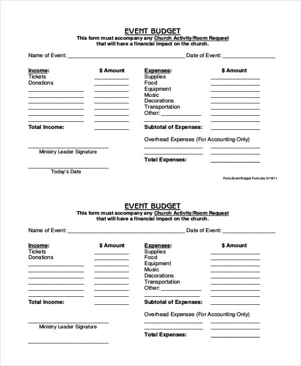 Event Budget Form  Free Sample Example Format Download