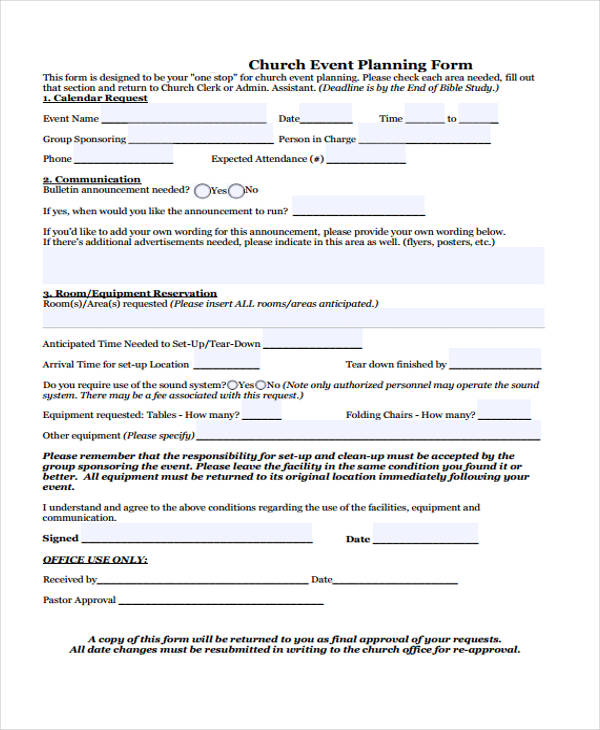 church event planning form1