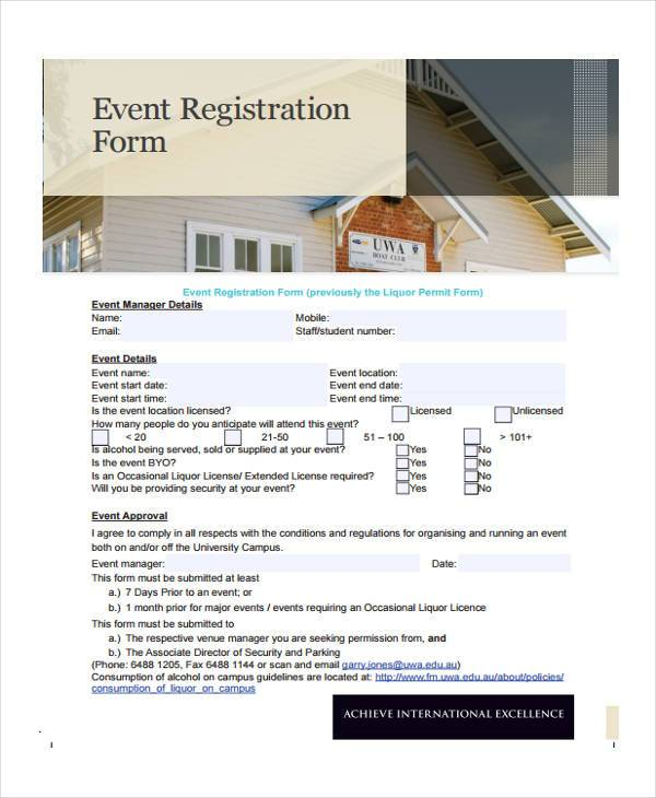 church event registration form